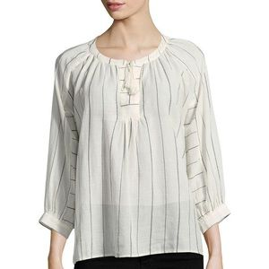 JOIE Cream and Black Striped Boho Blouse sz Xs